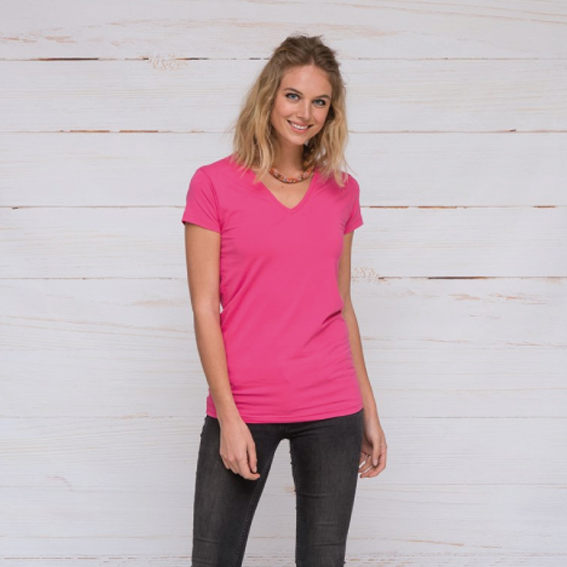 Lemon & Soda T-SHIRT V-NECK COTTON ELASTHAN SS for her – LEM1262